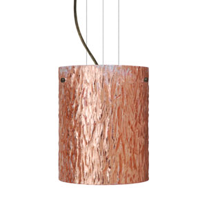 Tamburo 8 8 Bronze One-Light Incandescent 120v Mini Pendant with Flat Canopy, Cable, and Stone Copper Foil Glass