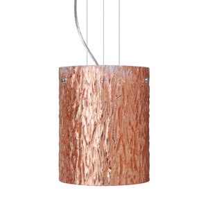 Tamburo 8 8 Satin Nickel One-Light Incandescent 120v Mini Pendant with Flat Canopy, Cable, and Stone Copper Foil Glass