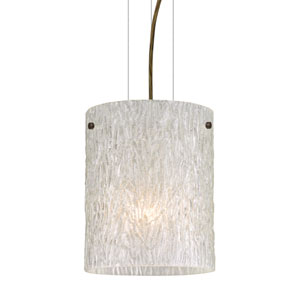 Tamburo 8 Bronze One-Light Incandescent 120v Mini Pendant with Flat Canopy, Cable, and Glitter Stone Glass