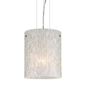 Tamburo 8 Satin Nickel One-Light Incandescent 120v Mini Pendant with Flat Canopy, Cable, and Glitter Stone Glass