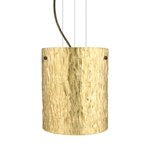 Tamburo 8 Bronze One-Light Incandescent 120v Mini Pendant with Flat Canopy, Cable, and Stone Gold Foil Glass