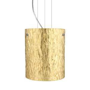 Tamburo 8 Satin Nickel One-Light Incandescent 120v Mini Pendant with Flat Canopy, Cable, and Stone Gold Foil Glass