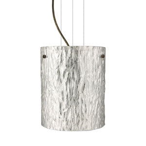 Tamburo 8 Bronze One-Light Incandescent 120v Mini Pendant with Flat Canopy, Cable, and Stone Silver Foil Glass