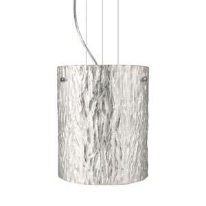 Tamburo 8 Satin Nickel One-Light Incandescent 120v Mini Pendant with Flat Canopy, Cable, and Stone Silver Foil Glass