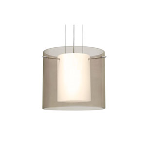 Pahu 12 Satin Nickel One-Light LED Pendant with Transparent Smoke Glass