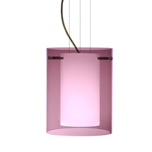 Pahu 8 Bronze One-Light Edison 120v Mini Pendant with Flat Canopy, Cable, and Transparent Amethyst Glass