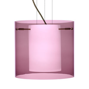 Pahu 12 Bronze One-Light Edison 120v Mini Pendant with Flat Canopy, Cable, and Transparent Amethyst Glass