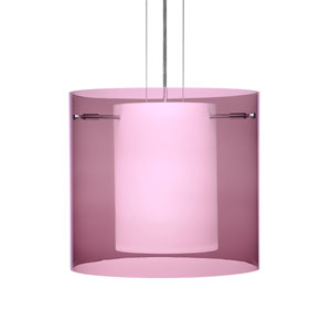 Pahu 12 Satin Nickel One-Light Edison 120v Mini Pendant with Flat Canopy, Cable, and Transparent Amethyst Glass