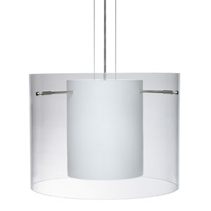 Pahu 16 Clear/Opal Satin Nickel Mini Pendant