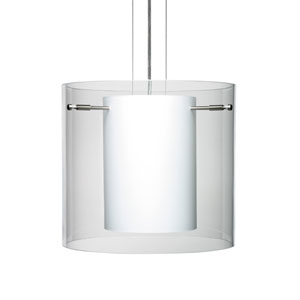 Pahu 12 Satin Nickel Three-Light Edison 120v Mini Pendant with Flat Canopy, Cable, and Clear Glass