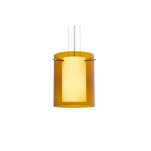 Pahu 8 Satin Nickel One-Light LED Mini Pendant with Transparent Armagnac Glass