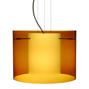 Pahu 16 Bronze One-Light Edison 120v Mini Pendant with Flat Canopy, Cable, and Transparent Armagnac Glass