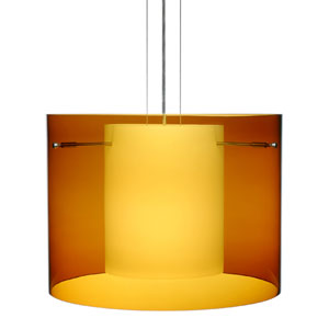 Pahu 16 Satin Nickel One-Light Edison 120v Mini Pendant with Flat Canopy, Cable, and Transparent Armagnac Glass