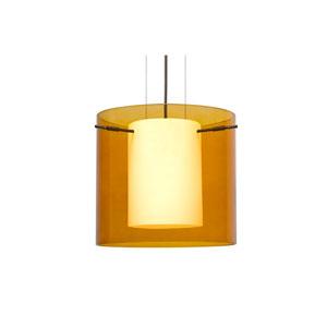 Pahu 12 Bronze One-Light LED Pendant with Transparent Armagnac Glass