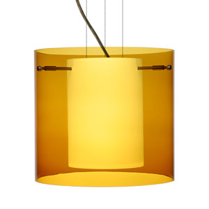 Pahu 12 Bronze One-Light Edison 120v Mini Pendant with Flat Canopy, Cable, and Transparent Armagnac Glass