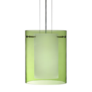 Pahu Satin Nickel One-Light Edison 120v Mini Pendant with Flat Canopy, Cable, and Transparent Olive Glass