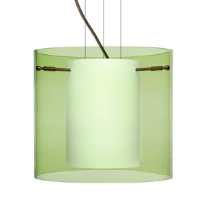 Pahu 12 Bronze One-Light Edison 120v Mini Pendant with Flat Canopy, Cable, and Transparent Olive Glass