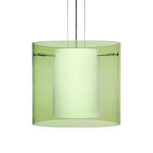Pahu 12 Satin Nickel One-Light Edison 120v Mini Pendant with Flat Canopy, Cable, and Transparent Olive Glass