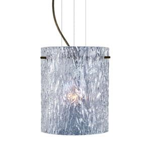Tamburo 8 Bronze One-Light LED Mini Pendant with Clear Stone Glass
