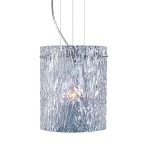 Tamburo 8 Satin Nickel One-Light LED Mini Pendant with Clear Stone Glass