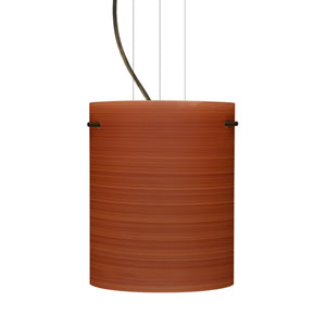 Tamburo 8 Bronze One-Light LED Mini Pendant with Cherry Glass