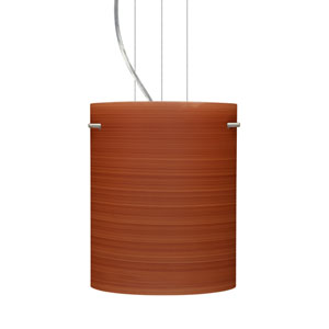 Tamburo 8 Satin Nickel One-Light LED Mini Pendant with Cherry Glass