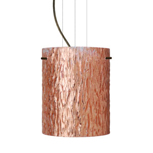 Tamburo 8 Bronze One-Light LED Mini Pendant with Stone Copper Foil Glass
