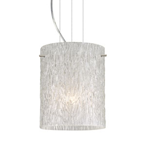 Tamburo 8 Satin Nickel One-Light LED Mini Pendant with Glitter Stone Glass