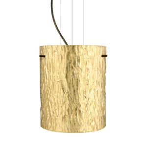 Tamburo 8 Bronze One-Light LED Mini Pendant with Stone Gold Foil Glass