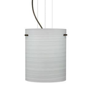 Tamburo 8 Bronze One-Light LED Mini Pendant with Chalk Glass