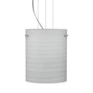 Tamburo 8 Satin Nickel One-Light LED Mini Pendant with Chalk Glass