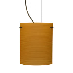 Tamburo 8 Bronze One-Light LED Mini Pendant with Oak Glass