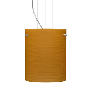 Tamburo 8 Satin Nickel One-Light LED Mini Pendant with Oak Glass