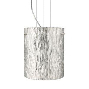 Tamburo 8 Satin Nickel One-Light LED Mini Pendant with Stone Silver Foil Glass