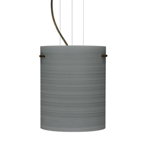 Tamburo 8 Bronze One-Light LED Mini Pendant with Titan Glass
