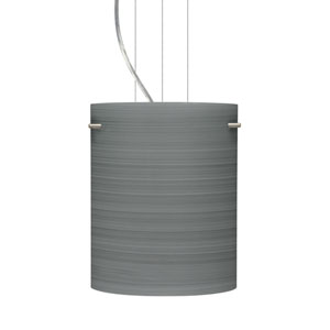Tamburo 8 Satin Nickel One-Light LED Mini Pendant with Titan Glass