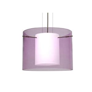 Pahu 16 Bronze One-Light LED Pendant with Transparent Amethyst Glass