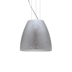 Bella 14 Satin Nickel One-Light LED Pendant with Silver Foil Glass
