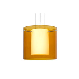 Pahu 12 Satin Nickel One-Light LED Pendant with Transparent Armagnac Glass