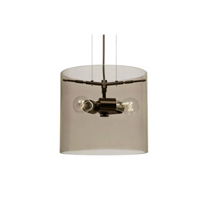Pahu 12 Bronze Three-Light Pendant with Transparent Smoke Glass