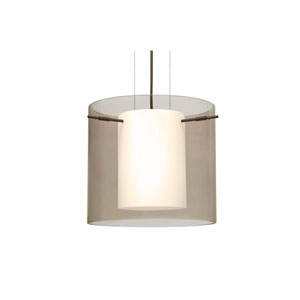 Pahu 12 Bronze One-Light Pendant with Transparent Smoke Glass