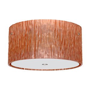Tamburo Satin Nickel Three-Light Incandescent 120v Flush Mount with Stone Copper Foil Glass
