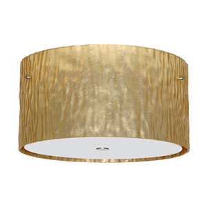 Tamburo Satin Nickel Three-Light Incandescent 120v Flush Mount with Stone Gold Foil Glass