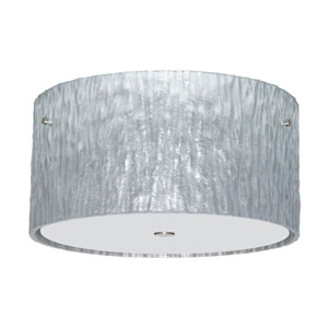 Tamburo Satin Nickel Three-Light Incandescent 120v Flush Mount with Stone Silver Foil Glass
