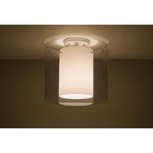 Pahu 12 Satin Nickel One-Light LED Semi Flush with Transparent Smoke Glass