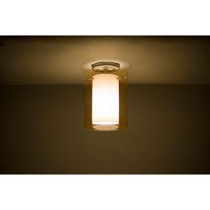Pahu 8 Satin Nickel One-Light LED Semi Flush with Transparent Armagnac Glass