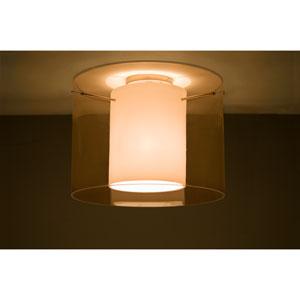 Pahu 16 Satin Nickel One-Light Semi Flush Mount with Transparent Armagnac Glass
