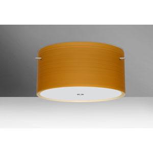 Tamburo 16v2 Satin Nickel Three-Light LED Flush Mount with Oak Glass