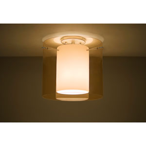 Pahu 12 Satin Nickel One-Light LED Semi Flush with Transparent Armagnac Glass