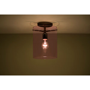 Pahu 8 Bronze One-Light Semi Flush Mount with Transparent Amethyst Glass